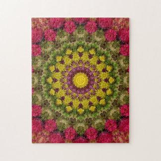 Puzzle Mandala floral rose et vert complexe