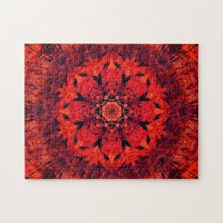 Puzzle Mandala rouge de fleur de Lotus