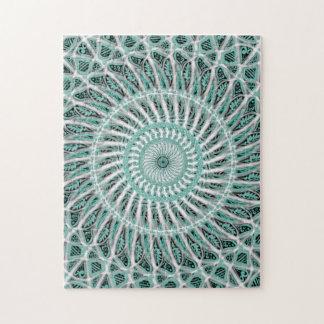 Puzzle Mandala turquoise et blanc
