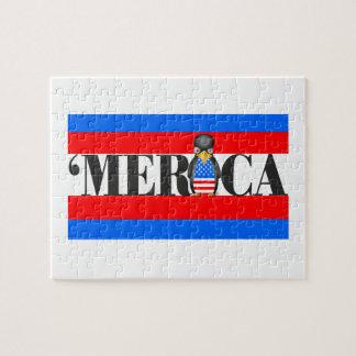 Puzzle Merica et un pingouin patriotique bouleversé