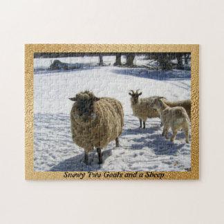Puzzle Milou deux chèvres et un mouton
