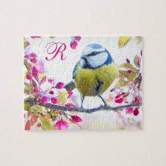 Puzzle Monogramme d'oiseau et de fleurs