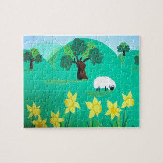 Puzzle moutons mignons avec des collines enfants de ciel