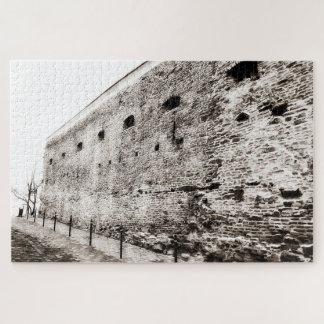 Puzzle Mur de briques médiéval monochrome de forteresse