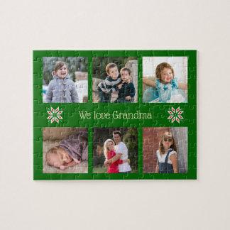 Puzzle Noël fait sur commande de cadre de vert des textes