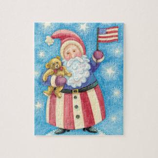 Puzzle Noël mignon, le père noël patriote avec le drapeau