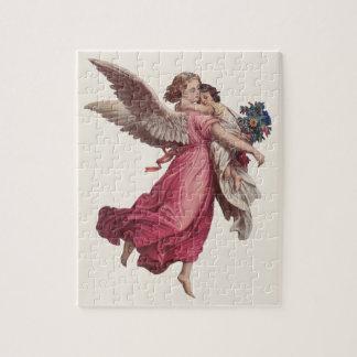 Puzzle Noël vintage, ange gardien victorien