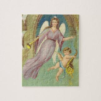 Puzzle Noël vintage, ange victorien avec l'ange