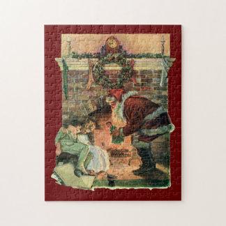 Puzzle Noël vintage, enfants victoriens du père noël