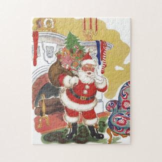 Puzzle Noël vintage, le père noël gai avec des présents