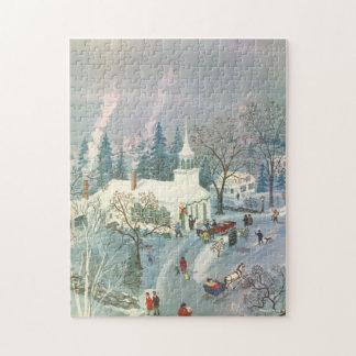 Puzzle Noël vintage, les gens allant à l'église dans la