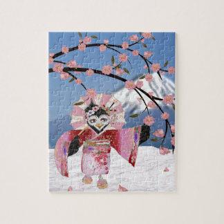 Puzzle Oiseau de geisha de Sakura dans les fleurs de
