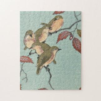 Puzzle Oiseaux japonais vintages de vert de beaux-arts