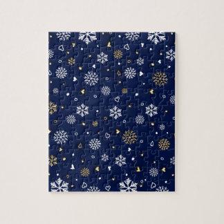 Puzzle Or de Joyeux Noël et flocons de neige blancs