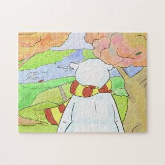 Puzzle Ours blanc dans le feuille d'automne