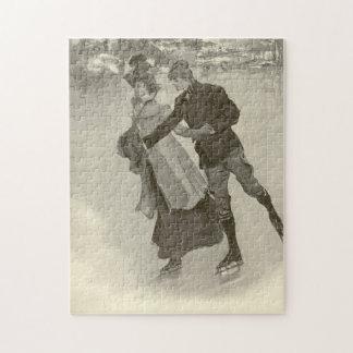 Puzzle Patineurs romantiques - casse-tête vintage