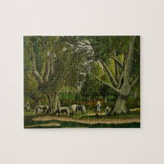 Puzzle Paysage avec des trayeuses par Henri Rousseau