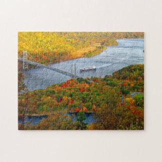 Puzzle Paysage de pont d'automne de rivière