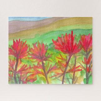 Puzzle Peinture de fleurs sauvages de pinceau indien de