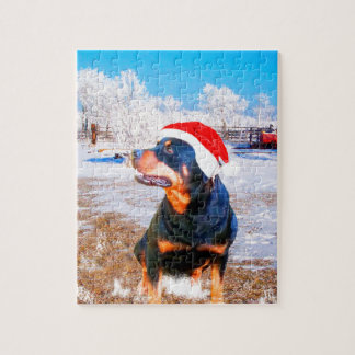 Puzzle Peinture de Noël de chien de rottweiler