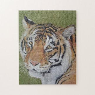Puzzle peinture réaliste d'art de portrait de grand chat