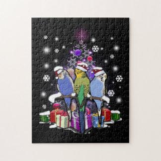 Puzzle Perruches avec le cadeau et les flocons de neige