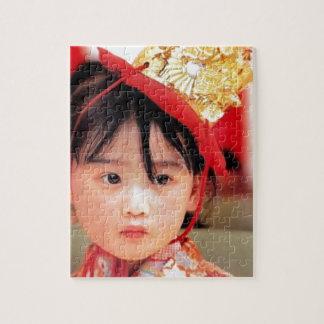 Puzzle Petite fille japonaise utilisant un kimono