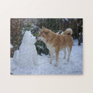Puzzle photographie de baiser mignonne d'akita de