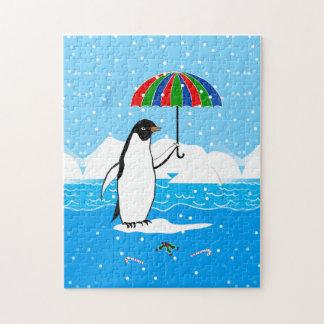 Puzzle Pingouin dans l'art de neige sur la boîte-cadeau