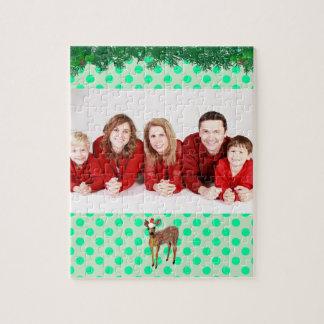 Puzzle Point de polka turquoise de cerfs communs de Noël