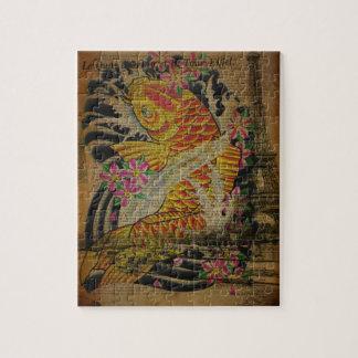 Puzzle Poissons japonais de koi de tatouage vintage de