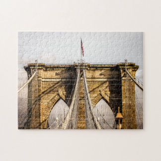 Puzzle Pont de Brooklyn iconique avec le drapeau
