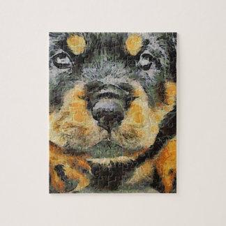 Puzzle Portrait de chiot de rottweiler
