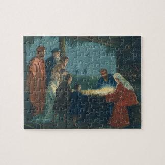 Puzzle Religion vintage, adoration des bergers