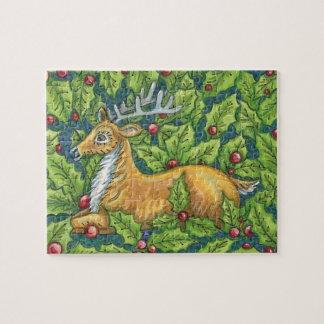 Puzzle Renne mignon de Noël dans la forêt avec le houx