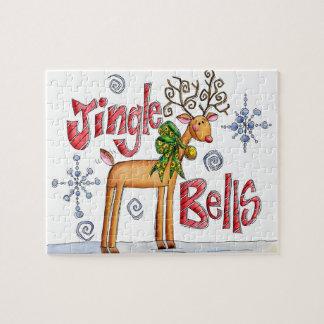 Puzzle Renne mignon de Noël, flocons de neige de