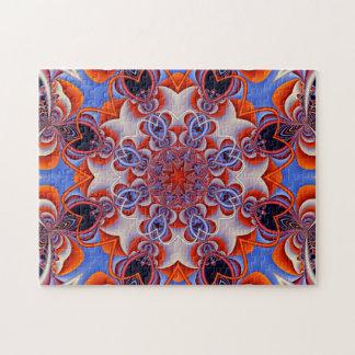 Puzzle Rouge et bleu de kaléidoscope de fractale