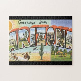 Puzzle Salutations d'affiche de voyage d'Arizona_Vintage