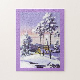 Puzzle Scène vintage de neige