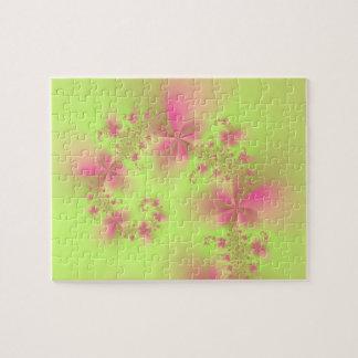 Puzzle Spirale florale de vert et de rose