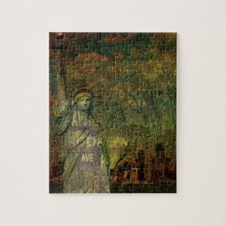 Puzzle Statue de carte de New York d'Américain de la