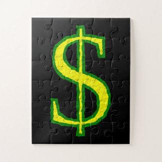 Puzzle Symbole vert et jaune du dollar
