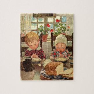 Puzzle Thanksgiving vintage, enfants reconnaissants