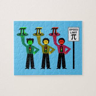 Puzzle Trio déprimé de feu d'arrêt à côté de signe de la