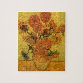 Puzzle Vase à Van Gogh avec des tournesols, fleurs de