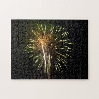 Puzzle Vert et célébration de vacances de feux d'artifice