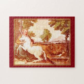 Puzzle vintage de licorne et de jeune femme