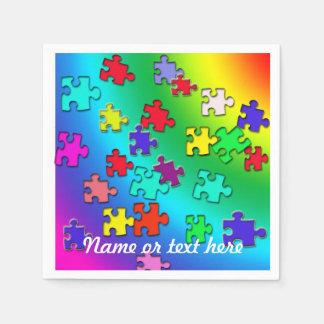 Puzzles multicolores serviette jetable
