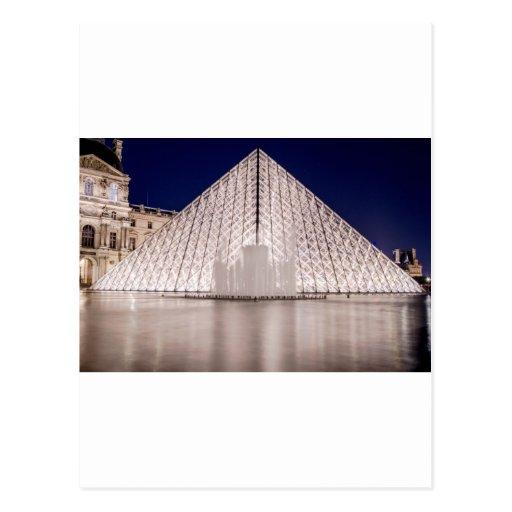 pyramide d'auvent France Paris la nuit Carte Postale