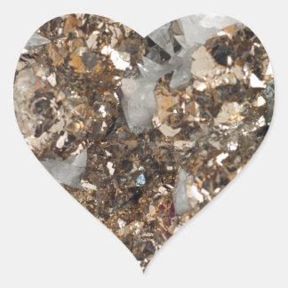 Pyrite et quartz sticker cœur